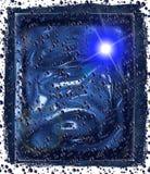 Blaue Blasen und Raumhintergrund Stockfotografie