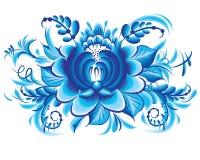 Blaue Blume in der gzhel Art Lizenzfreie Stockfotografie