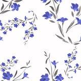 Blaue Blumen des nahtlosen Musters auf einem weißen Hintergrund Lizenzfreie Stockfotografie