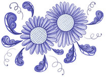 Blaue Blumen gezeichnet in alte russische populäre Verzierungsart Stockfotos