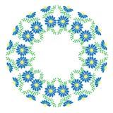 Blaue Blumen und Blattrahmenstickereistiche nachgemacht auf Th stock abbildung
