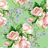 Blaue Blumen und Rosen, Aquarell Stockfotos