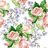 Blaue Blumen und Rosen, Aquarell Stockbild