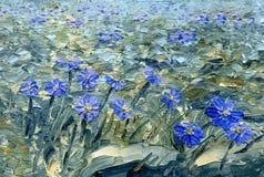 Blaue Blumen von Hepatica Nobilis, Nahaufnahme Landschaft mit Fluss und Wald Lizenzfreies Stockbild