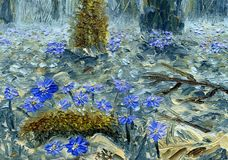 Blaue Blumen von Hepatica Nobilis, Nahaufnahme Landschaft mit Fluss und Wald Stockfotografie