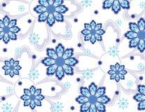 Blaue Blumentapete Stockfoto