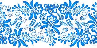 Blaue Blumenverzierung in russischer gzhel Art Stockbilder