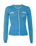 Blaue Bluse lokalisiert auf Weiß Stockfoto