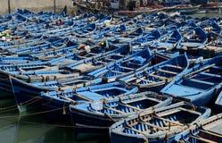 Blaue Boote Essaouira Lizenzfreie Stockfotos