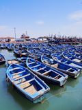 Blaue Boote in Essaouira, Marokko Stockfoto