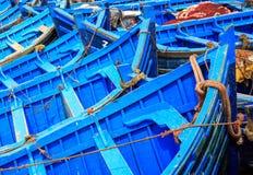 Blaue Boote von Essaouira, Marokko Stockfotografie