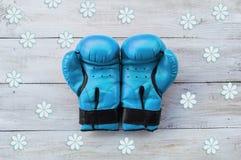 Blaue Boxhandschuhe auf einem weißen Hintergrund Lizenzfreie Stockfotografie