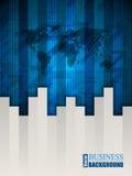 Blaue Broschüre mit Pfeilstreifen und -karte Lizenzfreies Stockbild