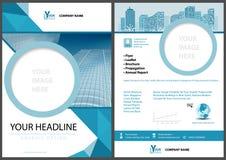 Blaue Broschüren-Schablone mit geometrischen Elementen stock abbildung