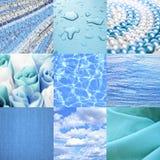 Blaue Collage stockfotos