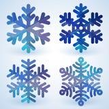 Blaue cristal Schneeflocken des Vektors Lizenzfreie Stockfotografie