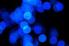 Blaue defocused farbige Lichter Bokeh Stockbild