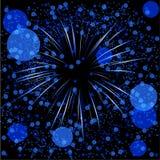 Blaue defocused Feuerwerke Stockfotos