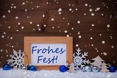 Blaue Dekoration, Schnee, Frohes-Fest-Durchschnitt-Weihnachten, Schneeflocken Lizenzfreie Stockfotos