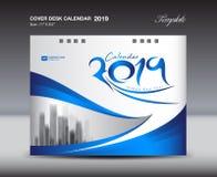 Blaue Designschablone des Abdeckungs-Tischkalender-2019, Fliegerschablone, Anzeigen, Broschüre, Katalog, Newsletter, Buchplan lizenzfreie abbildung
