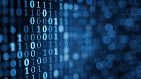Blaue digitale binäre Daten bezüglich des Bildschirms Lizenzfreie Stockfotografie