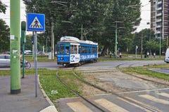 Blaue Drahtseilbahn Mailands Lizenzfreies Stockbild