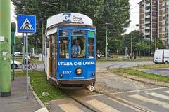 Blaue Drahtseilbahn Mailands Lizenzfreie Stockfotos