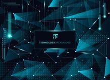 Blaue Dreiecke der abstrakten Technologie und niedriges Polygon mit Linien Co Lizenzfreie Stockbilder