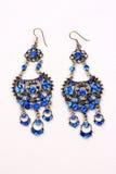 Blaue Edelstein-Ohrringe Stockbilder