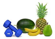 Blaue Eignungsdummköpfe mit Früchten Stockbild