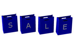 Blaue Einkaufstaschen mit Wortverkauf Stockbilder