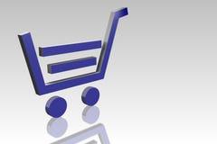 Blaue Einkaufswagenikone stock abbildung