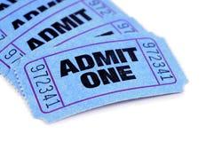 Blaue Eintrittskarten Stockfoto