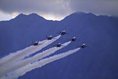 Blaue Engel im Flug Lizenzfreies Stockbild
