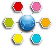 Blaue Erde in der Mitte des sechseckigen infografic Berichtsdiagramms Stockbilder