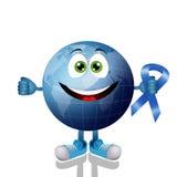 Blaue Erde mit blauem Band Stockfoto
