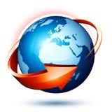 Blaue Erde und roter Pfeil lizenzfreie abbildung