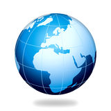 Blaue Erdeeuropa-Internet-Kugel Stockfotografie