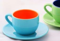Blaue Espresso-Kaffeetasse Stockfotografie