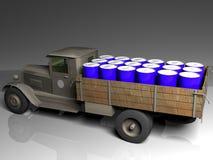 Blaue Fässer im Lastwagen Stockbild