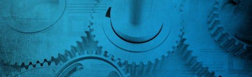 Blaue Fahne mit Rechnerschaltungen und Zähnen Stockbild