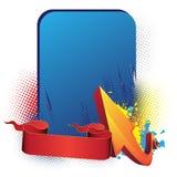 Blaue Fahne, Pfeil und Farbband Lizenzfreie Stockfotos