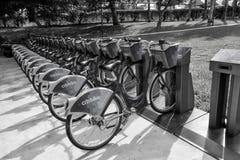 Blaue Fahrräder Citibike für Miete auf Station Stockfoto