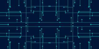 Blaue Farbe des Zusammenfassungshintergrundes für die Technologie, die Punkten und aus Linien besteht lizenzfreie abbildung