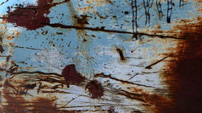Blaue Farbe korrodiertes Metall Stockfotos