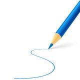 Blaue Farbenbleistiftzeichnung eine Zeile Stockfotos