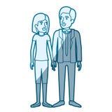 Blaue Farbschattenbildschattierung der Mann- und Frauenstellung und sie mit dem kurzen Haar und er im Gesellschaftsanzug mit Bind lizenzfreie abbildung