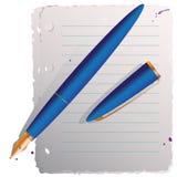 Blaue Feder mit Papier Stockfoto