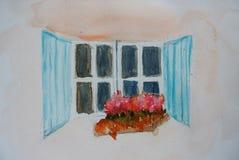 Blaue Fensteraquarellmalerei Stockfoto