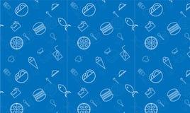 Blaue Fische des RESTAURANT-Musters Nahrungsmittel, Pizza stock abbildung